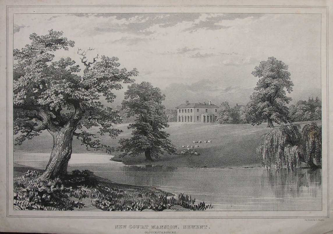 Lithograph - New Court Mansion, Newent. Gloucestershire