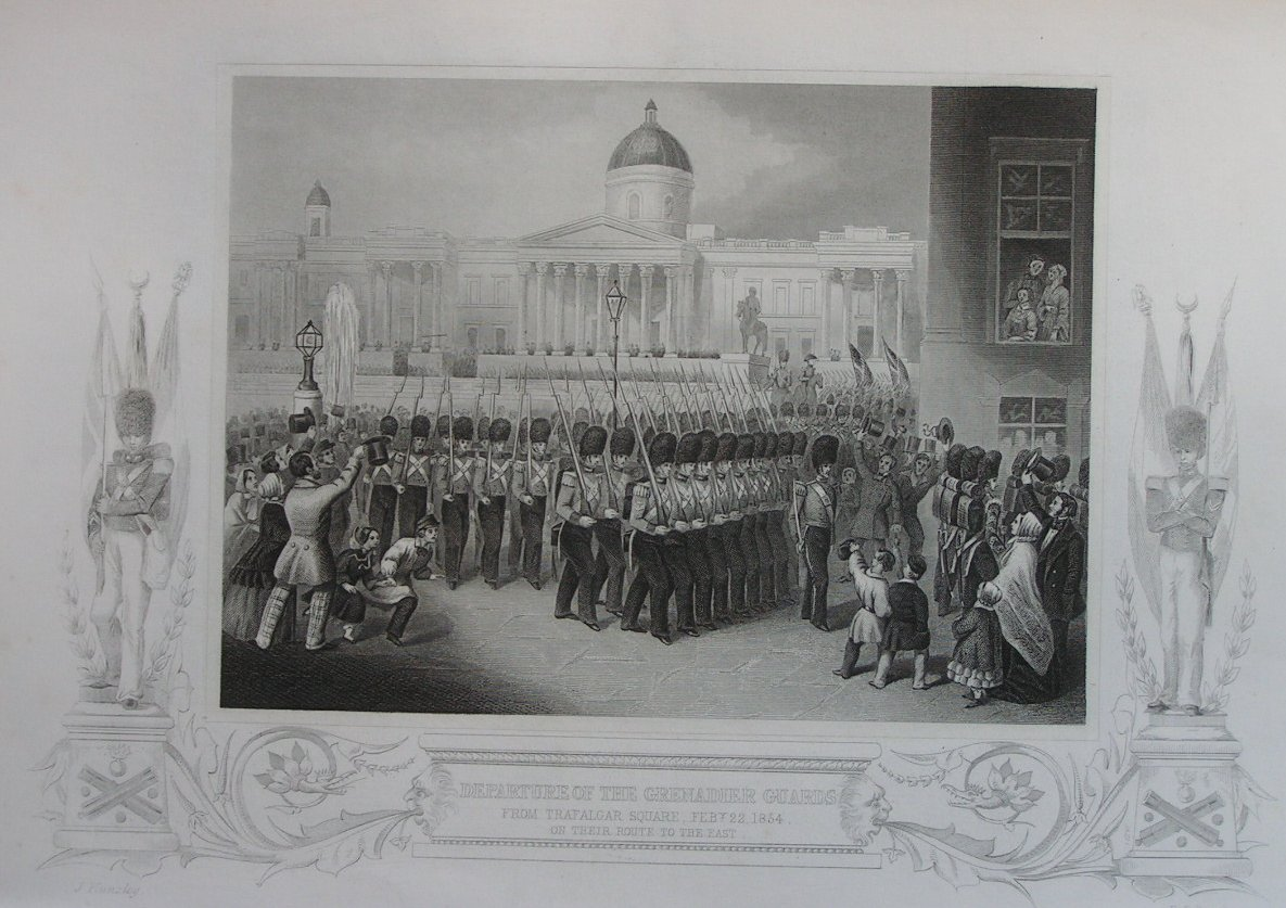 Print - Departure of the Grenadier Guards from Trafalgar Square Feb 22 1854 on their route to the East - Pound