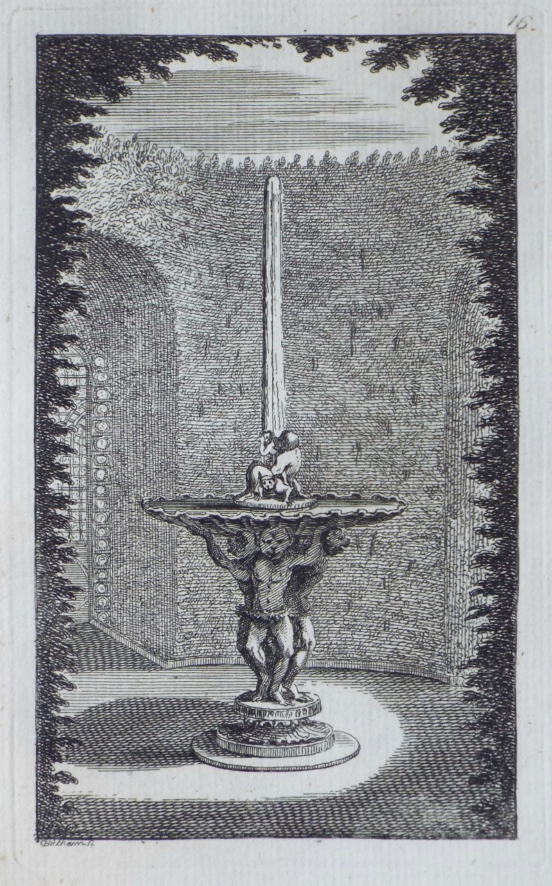 Print - The Ape's Twin Offspring Fountain in the Labyrinth of Versailles - Bickham