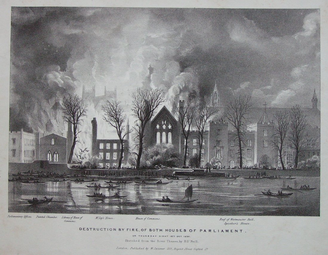 Lithograph - Destruction by Fire of Both Houses of Parliament on Thursday Night 16th Oct. 1834