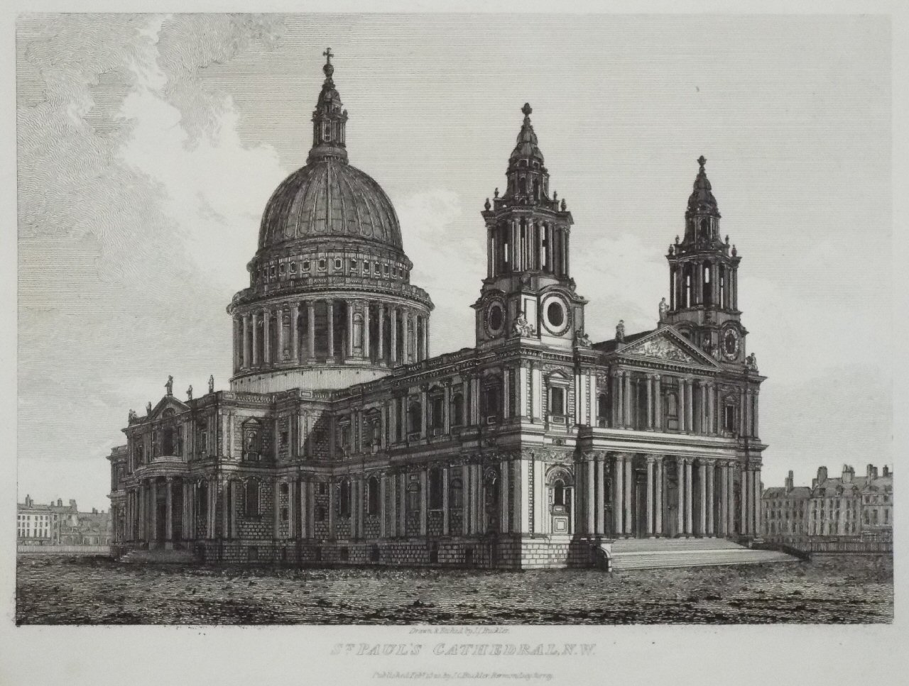 Etching - St. Paul's Cathedral, N.W. - Buckler