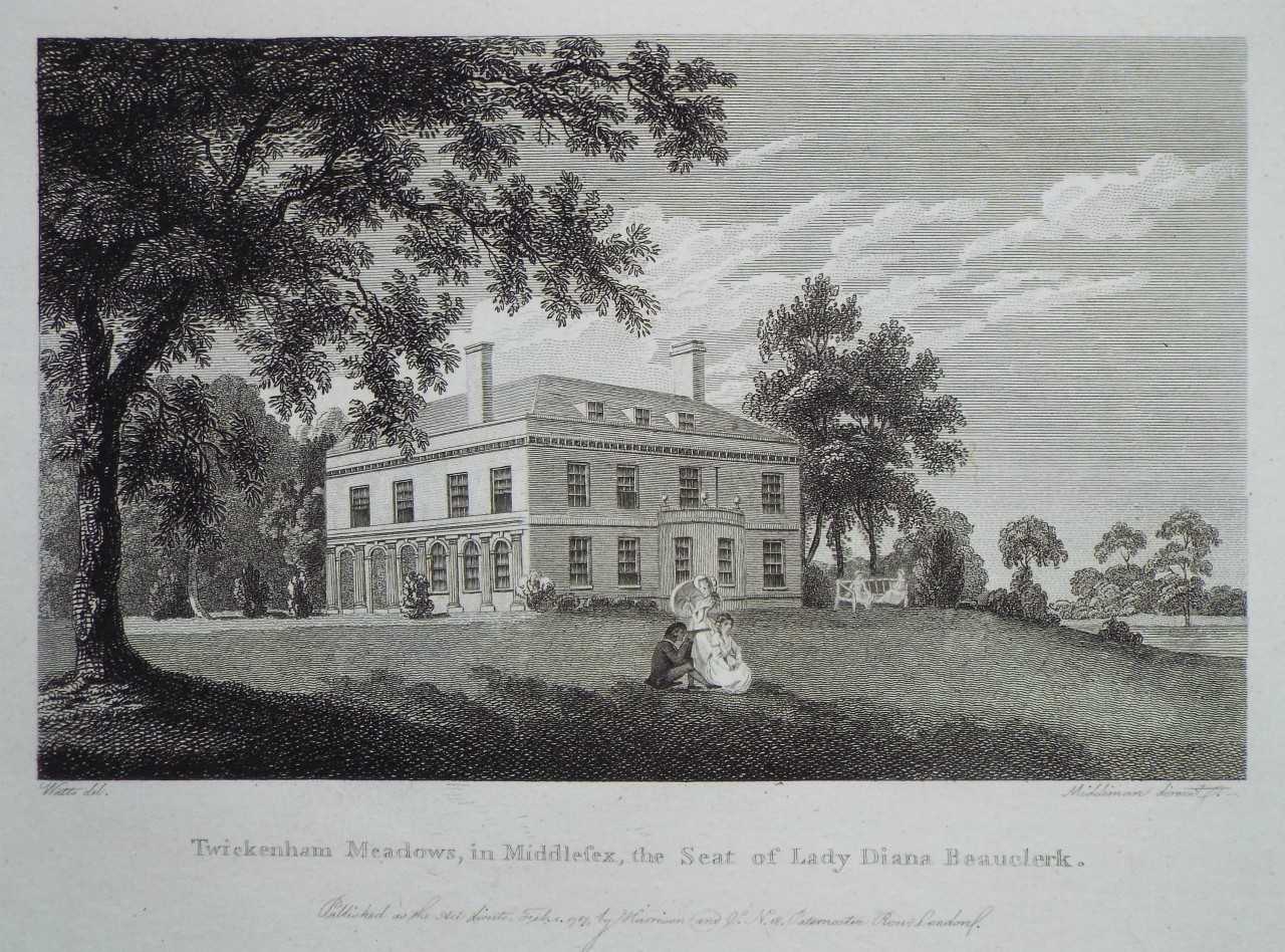 Print - Twickenham Meadows, in Middlesex, the Seat of Lady Diana Beauclerk. -