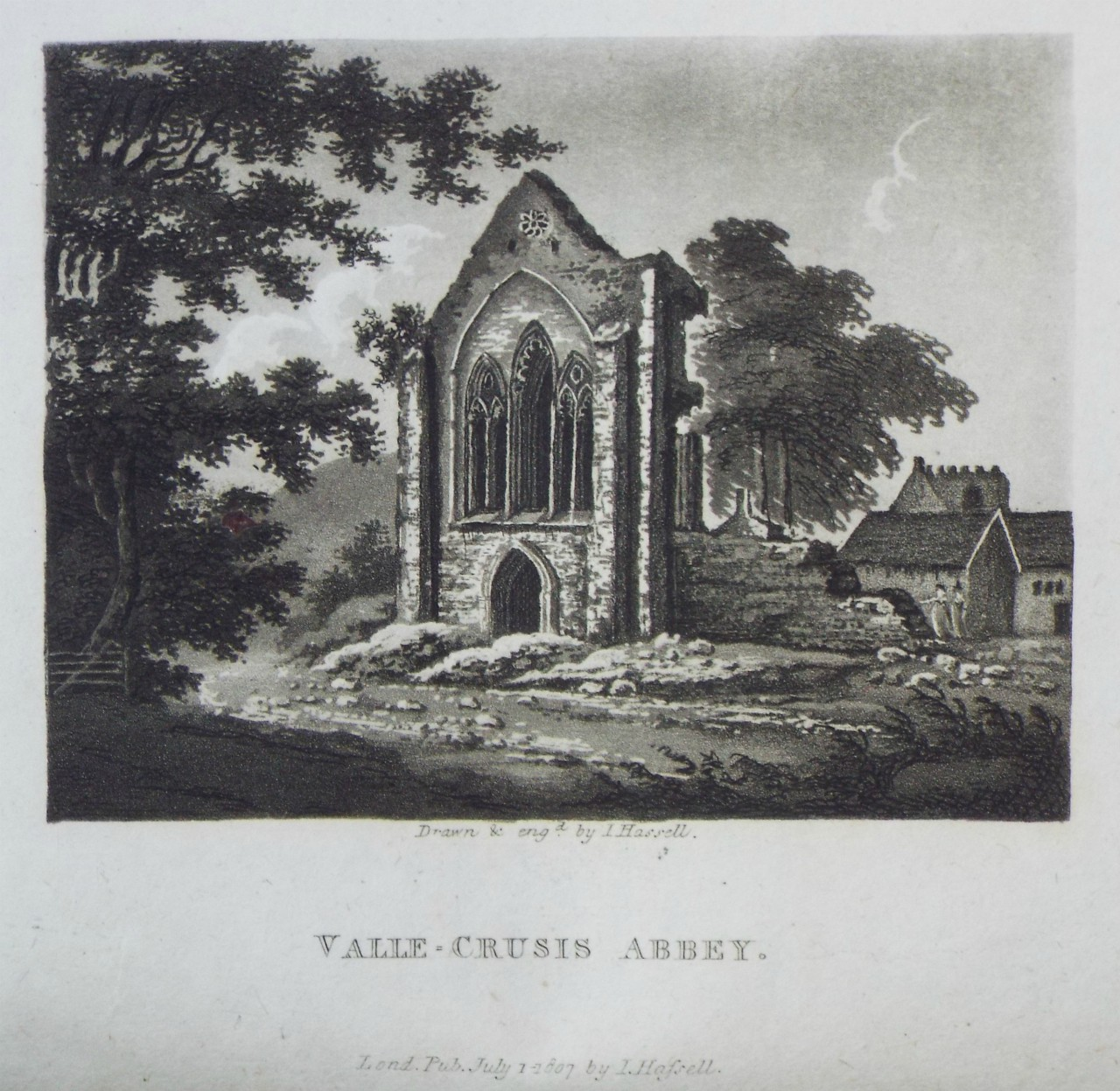 Aquatint - Valle-Crucis Abbey. - Hassell
