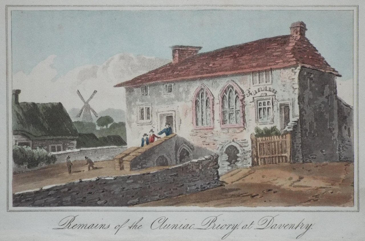 Aquatint - Remains of Cluniac Priory, at Daventry. - Hassell