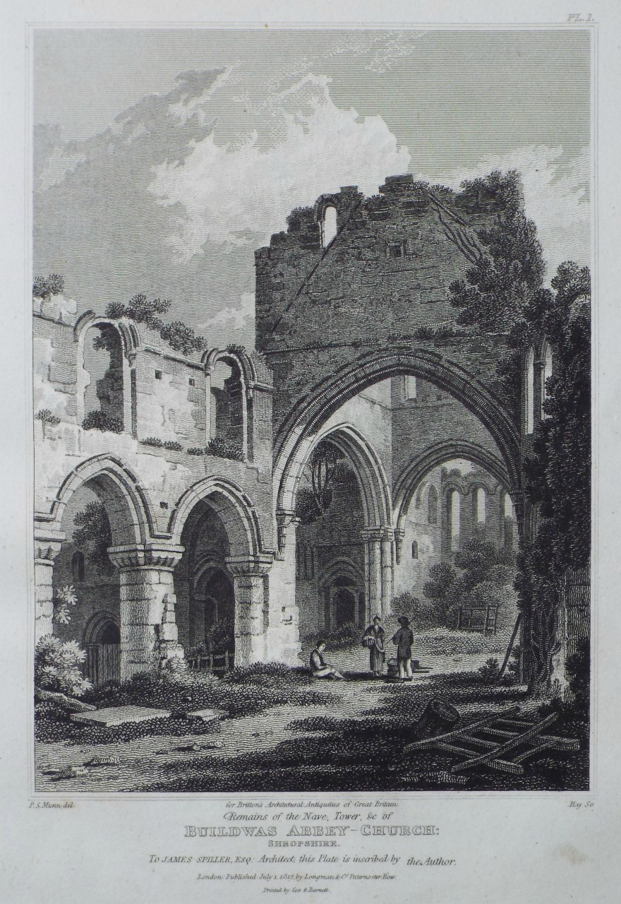 Print - Remains of the Nave, Tower, &c of Buildwas Abbey-Church: Shropshire. -