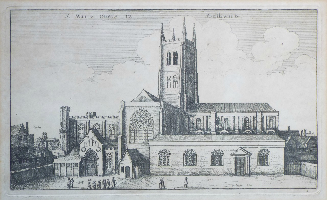 Etching - S. Marie Over's in Southwarke. - Hollar