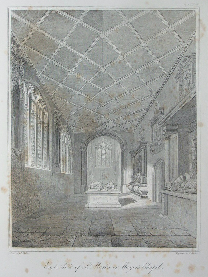 Etching - East Aisle of St. Mark's or Mayor's Chapel. - Skelton