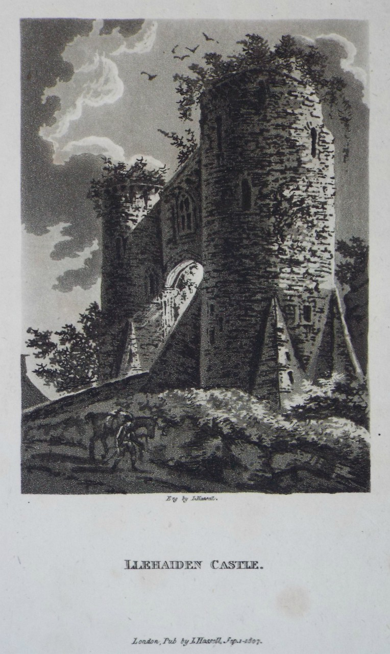 Aquatint - Llehaiden Castle. - Hassell