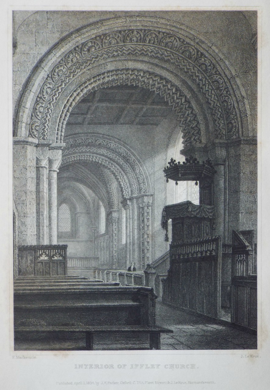 Print - Interior of Iffley Church. - Le