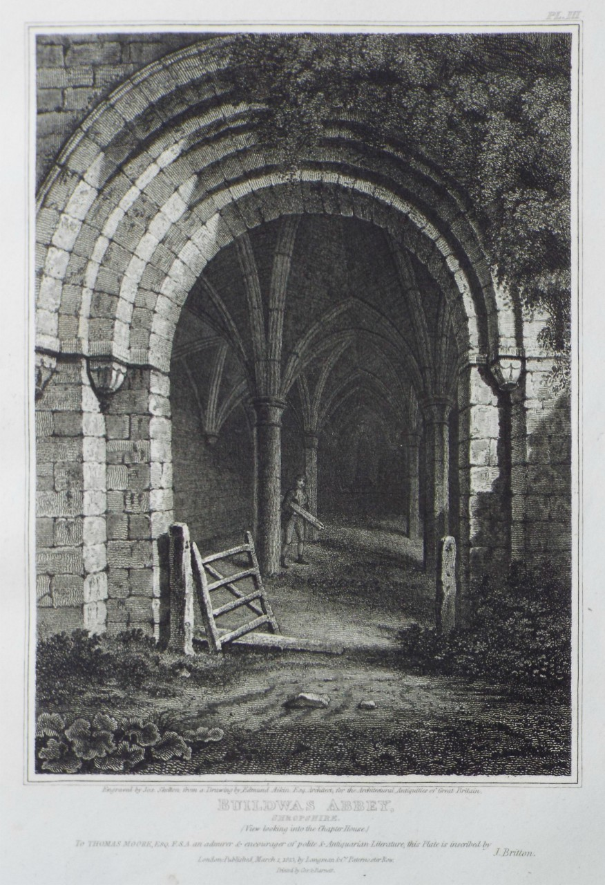 Print - Buildwas Abbey-Church: Shropshire. (View looking into the Chapter House.) - Skelton