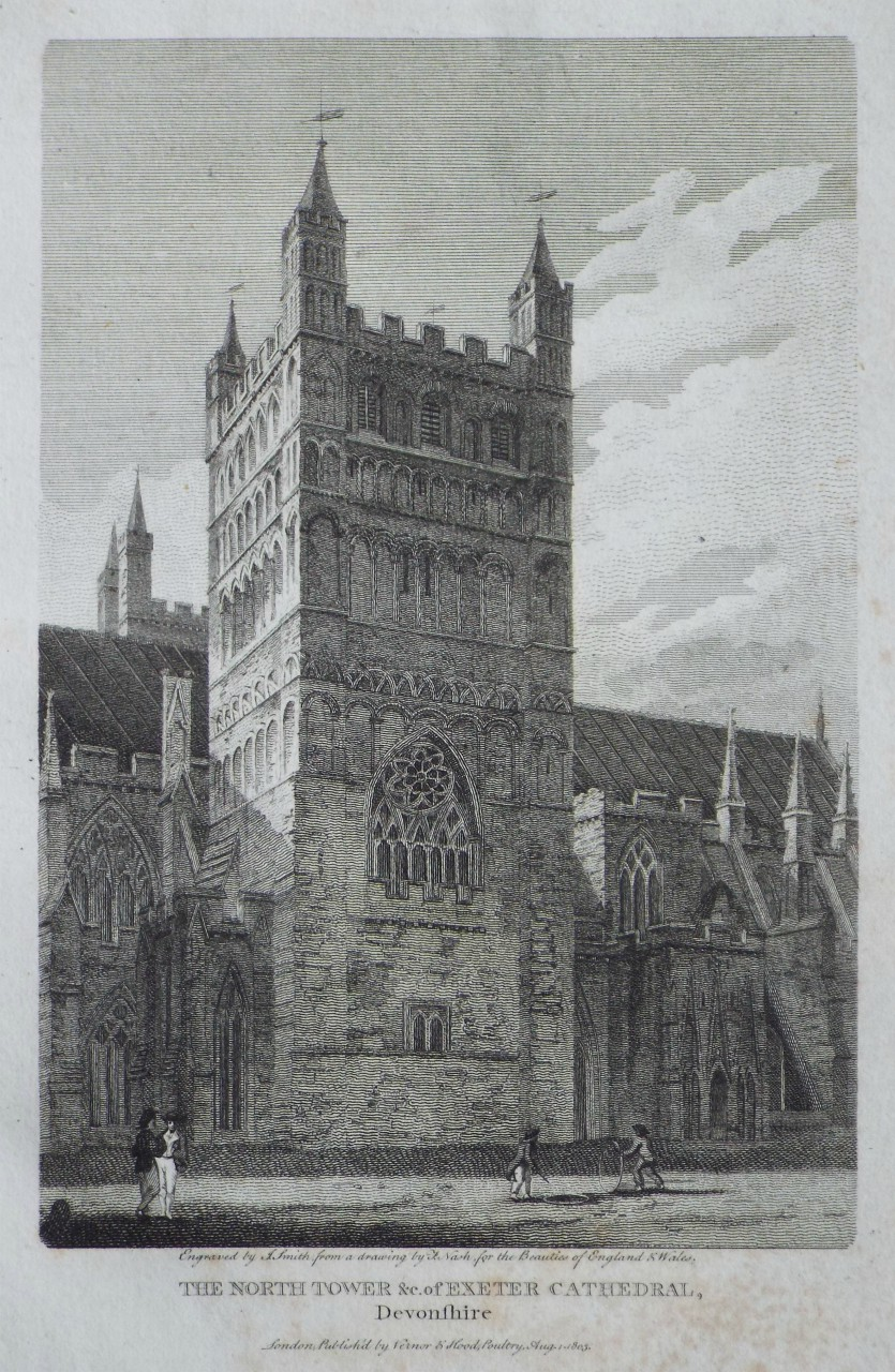Print - The North Tower &c. of Exeter Cathedral, Devonshire. - Smith