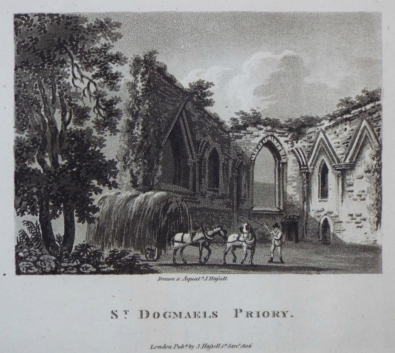 Aquatint - St. Dogmaels Priory - Hassell