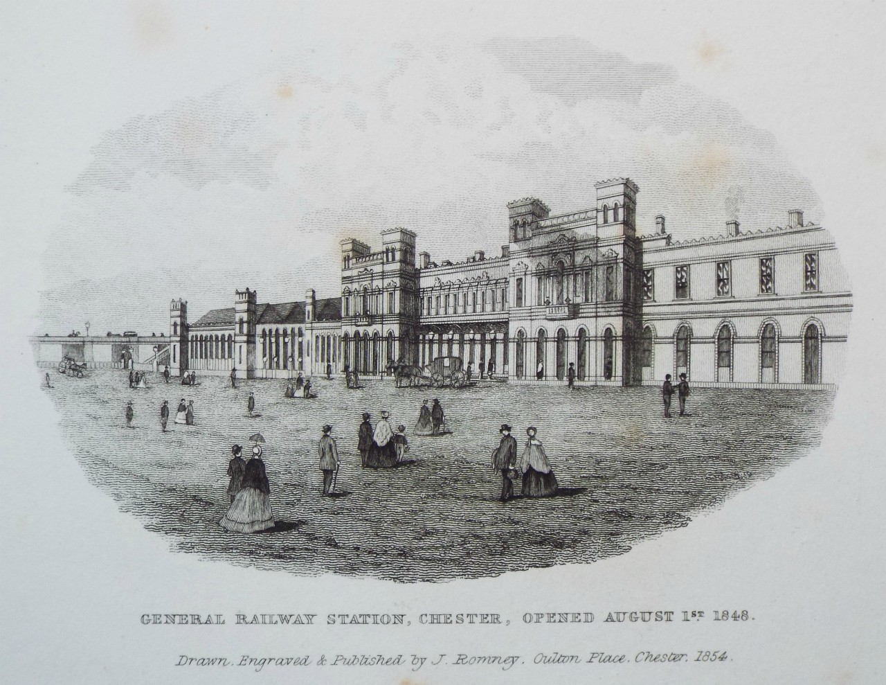 Print - General Railway Station, Chester, Opened August 1st 1848. - Romney