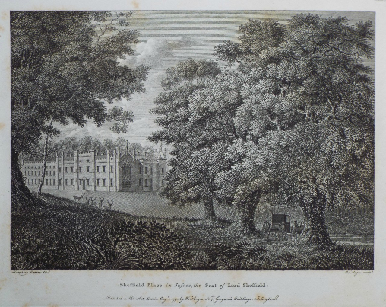 Print - Sheffield Place in Sussex, the Seat of Lord Sheffield. - Angus