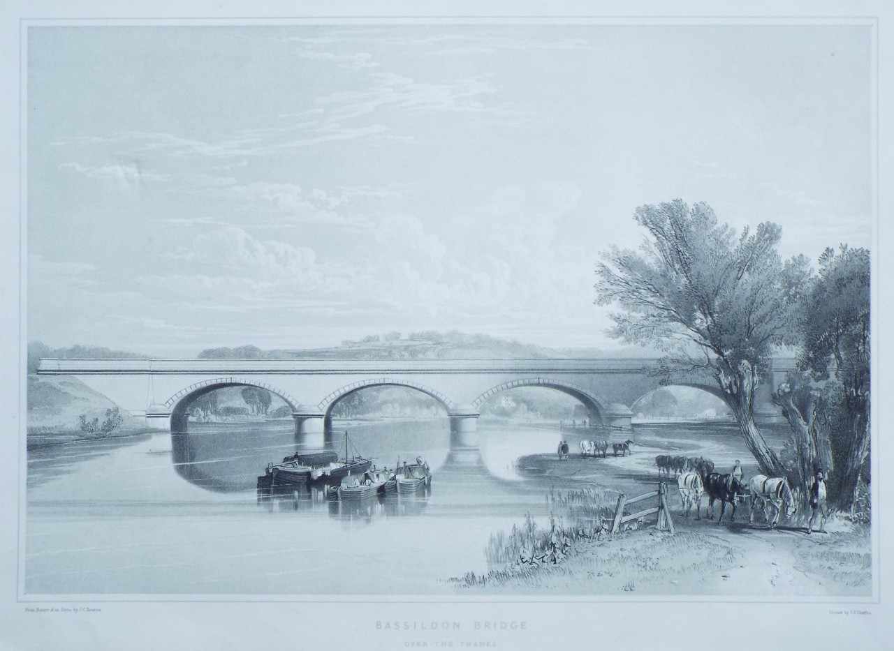 Lithograph - Bassildon Bridge over the Thames. - Cheffins