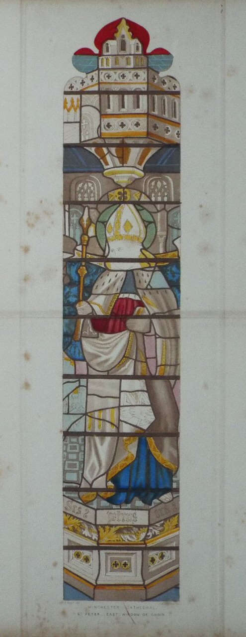 Print - Winchester Cathedral. St. Peter - East Window of Choir. - Le
