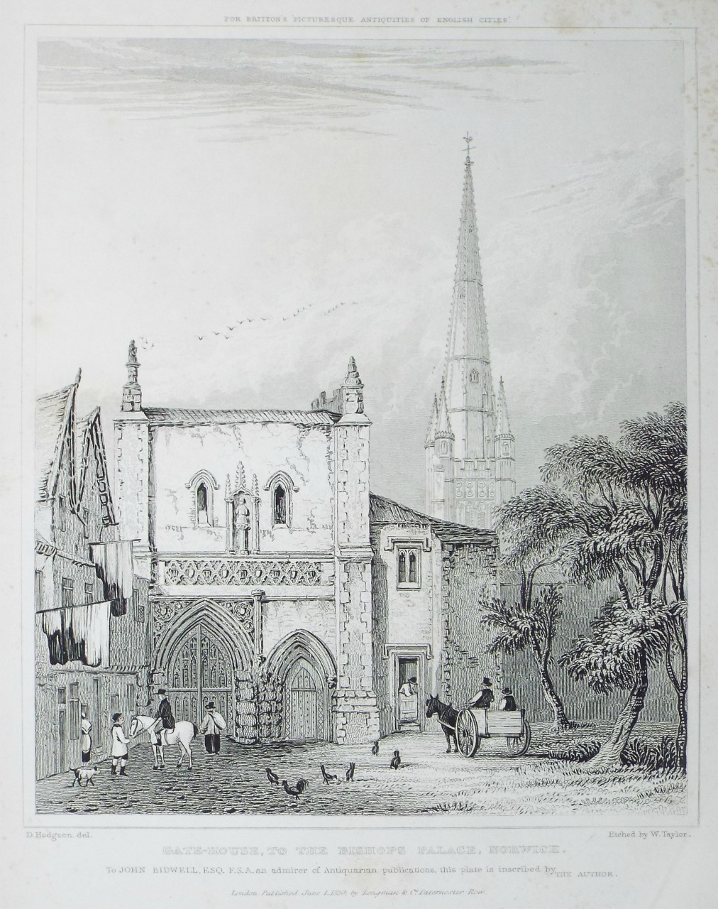 Print - Gate-house, to the Bishops Palace. Norwich. - Taylor