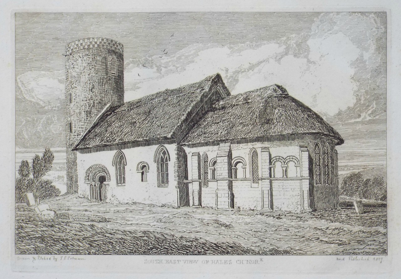 Etching - South East View of Hales Church. - Cotman