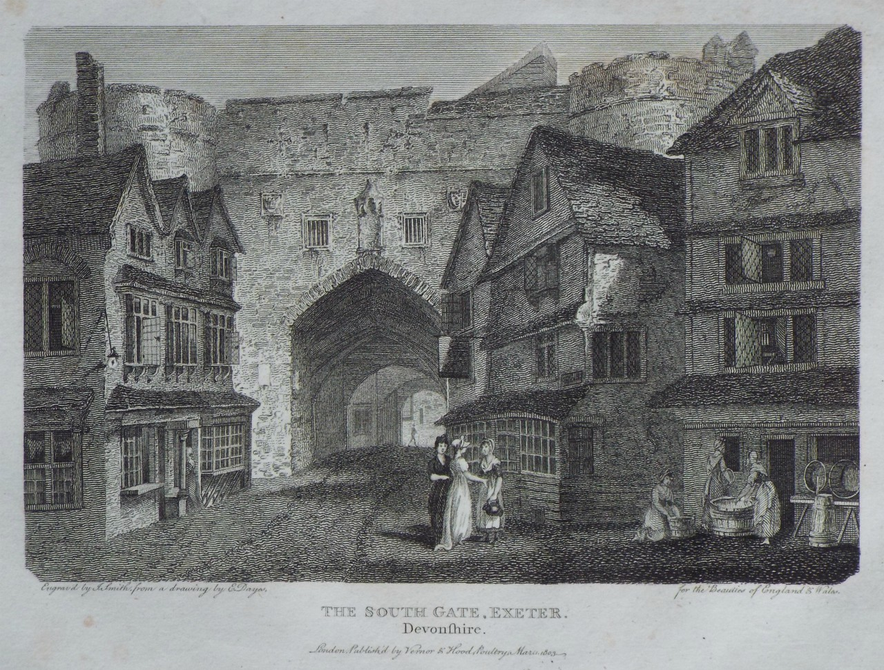 Print - The South Gate, Exeter, Devonshire. - Smith