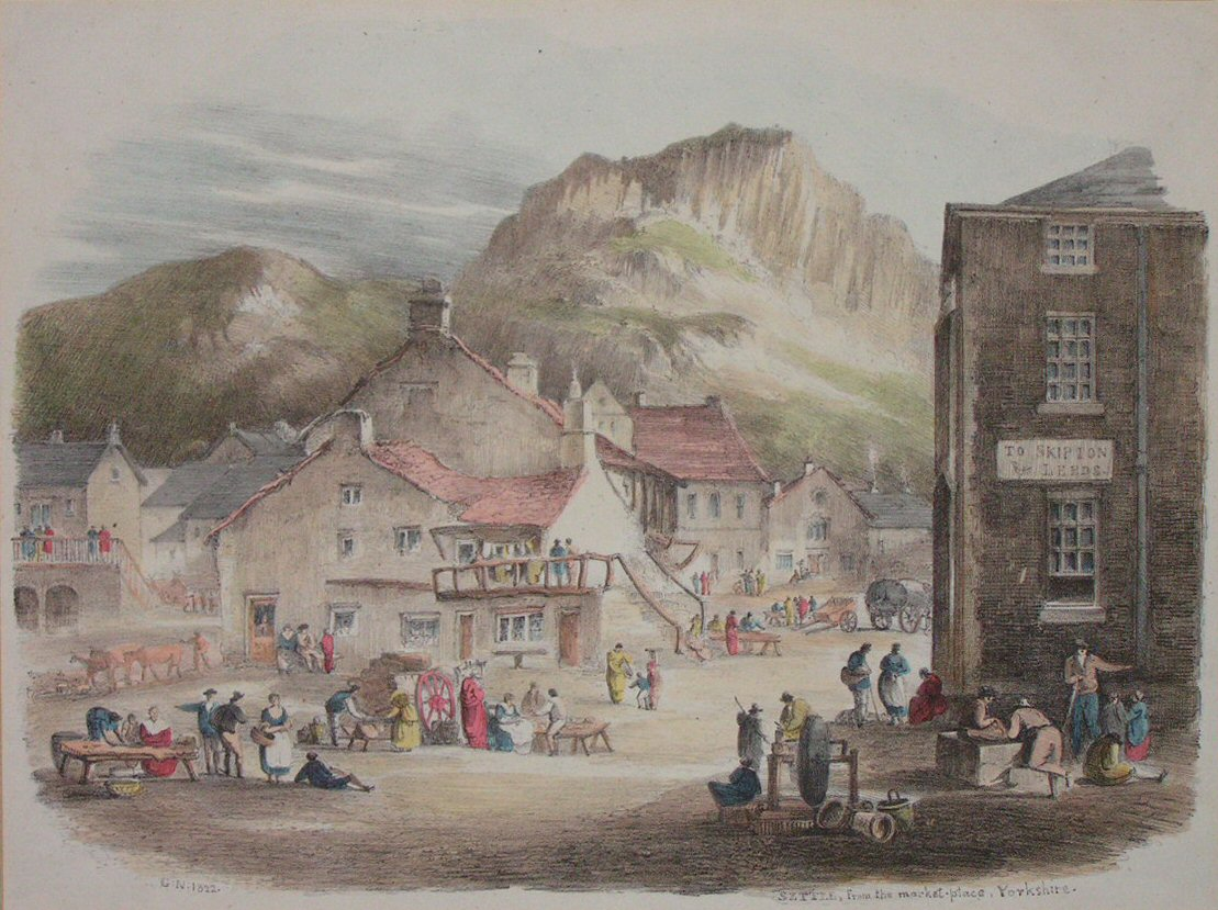 Lithograph - Settle, from the Market Place, Yorkshire - Nicholson