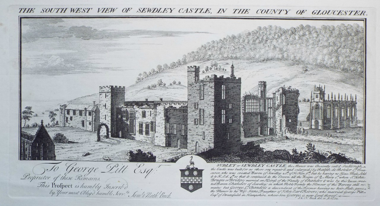 Print - The South West View of Sewdley Castle, in the County of Gloucester. - Buck
