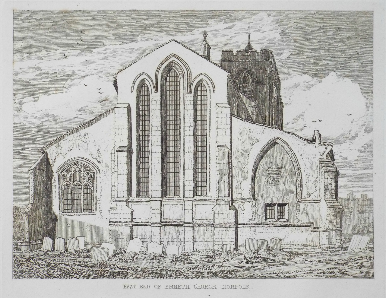 Etching - East End of Emneth Church, Norfolk. - Cotman