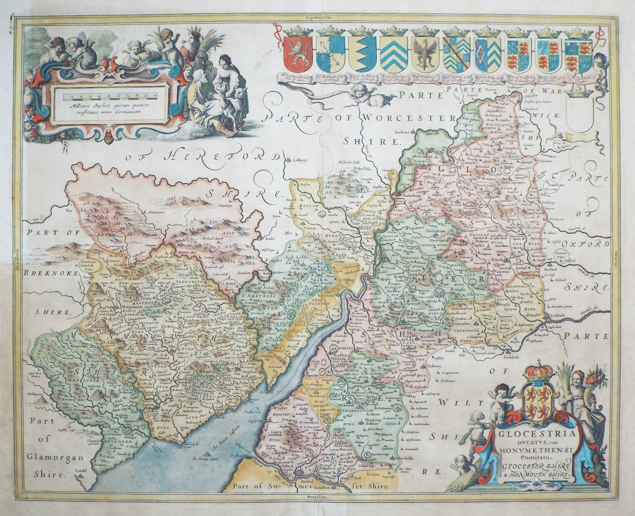 Map of Gloucestershire & Monmouthshire - Jansson
