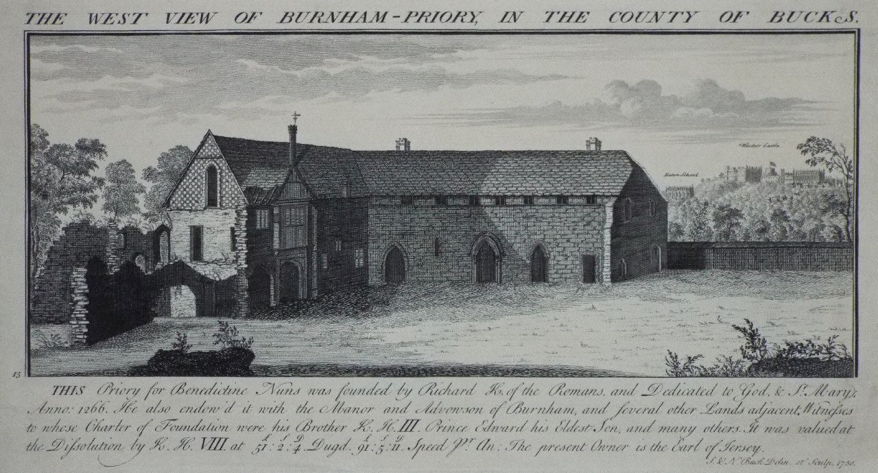 Print - The West View of Burnham-Priory, in the County  of Bucks. - Buck