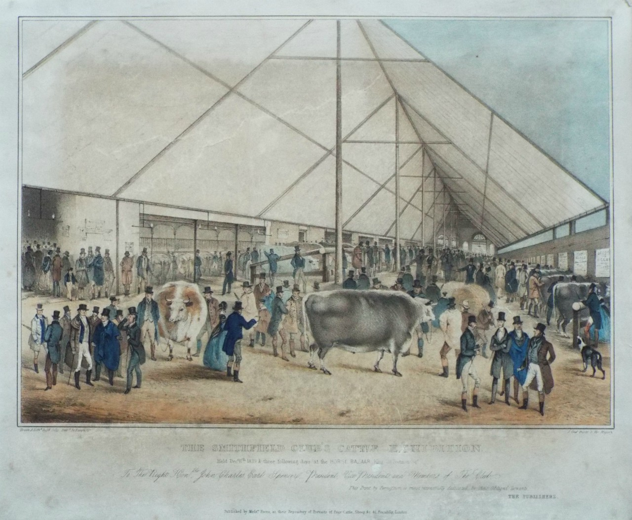 Lithograph - The Smithfeld Club's Cattle Exhibition. Held Decr. 11th 1839 & three following days at the Horse Bazaar, King St. Portman Sqr. - Giles