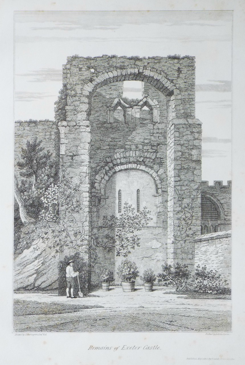 Print - Remains of Exeter Castle. - Byrne