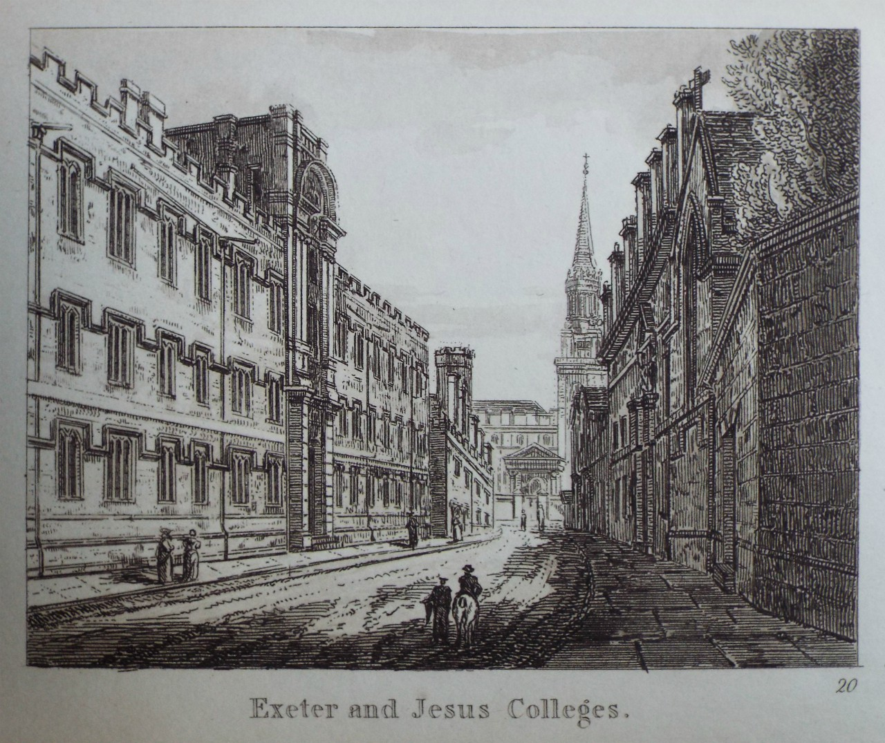Aquatint - Exeter and Jesus Colleges.