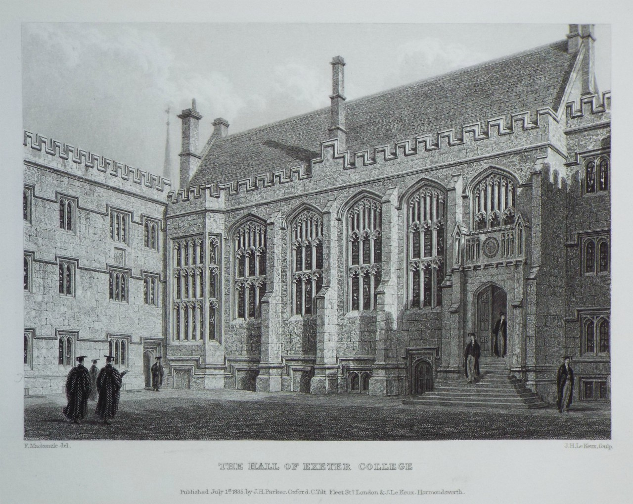 Print - The Hall of Exeter College. - Le