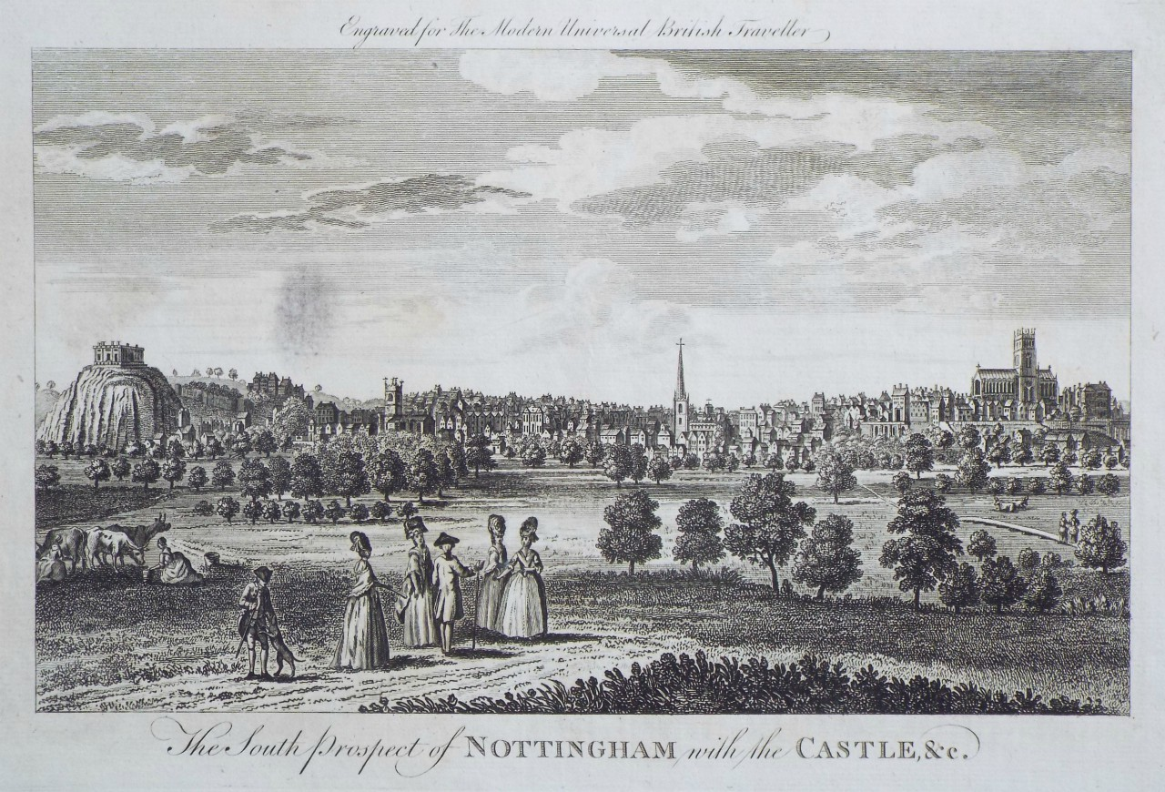 Print - The South Prospect of Nottingham, with the Castle, &c.