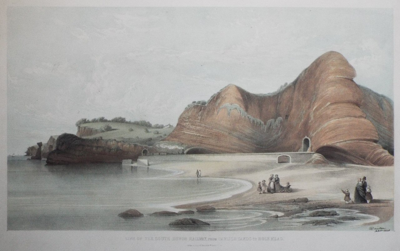 Lithograph - Line of the South Devon Railway from Dawlish Sands to Hole Head - Spreat