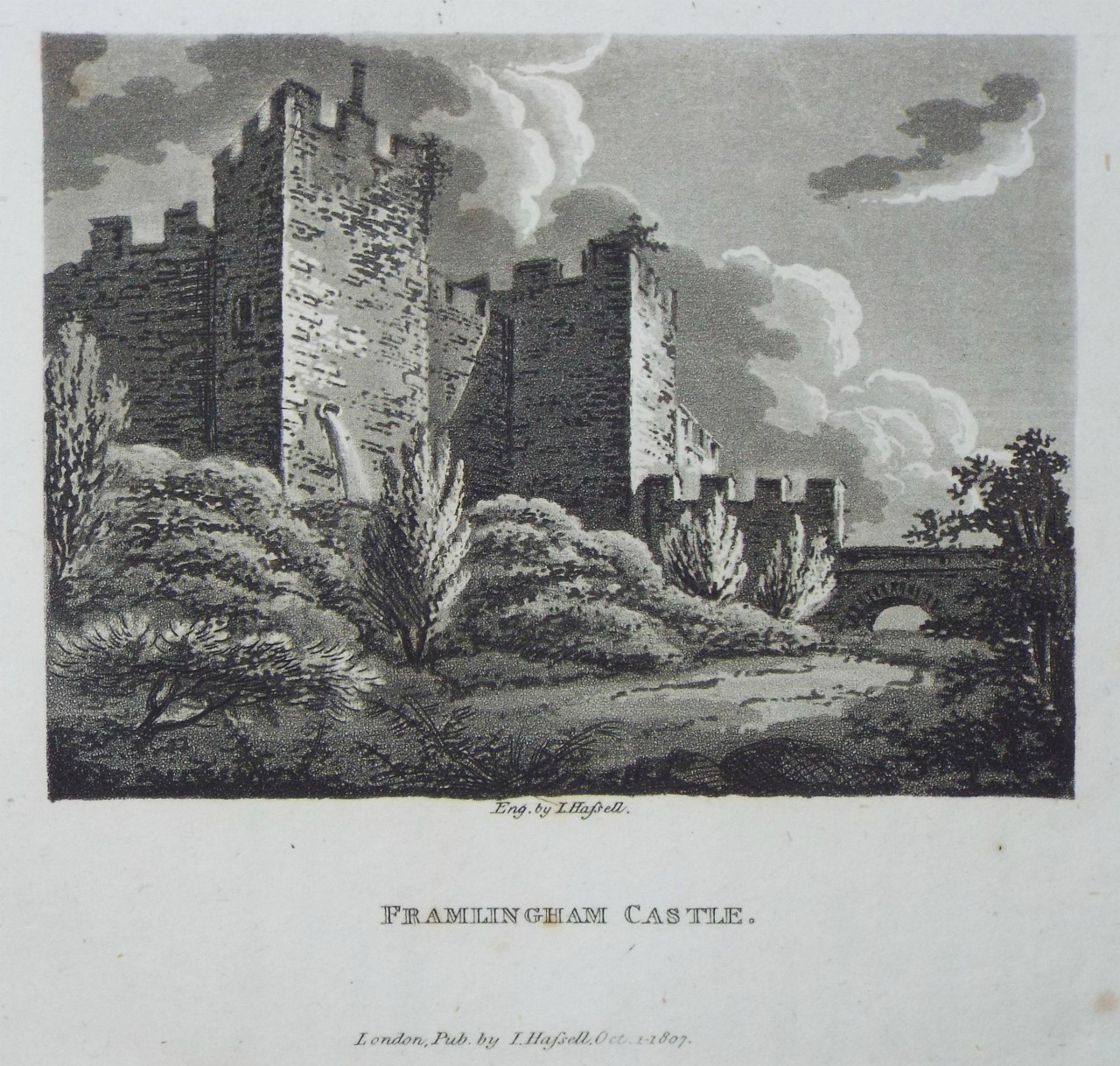 Aquatint - Framlingham Castle. - Hassell
