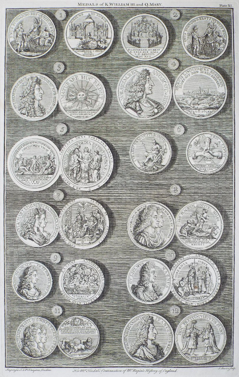 Print - Medals of K.William III. and Q.Mary. Plate XI - Basire