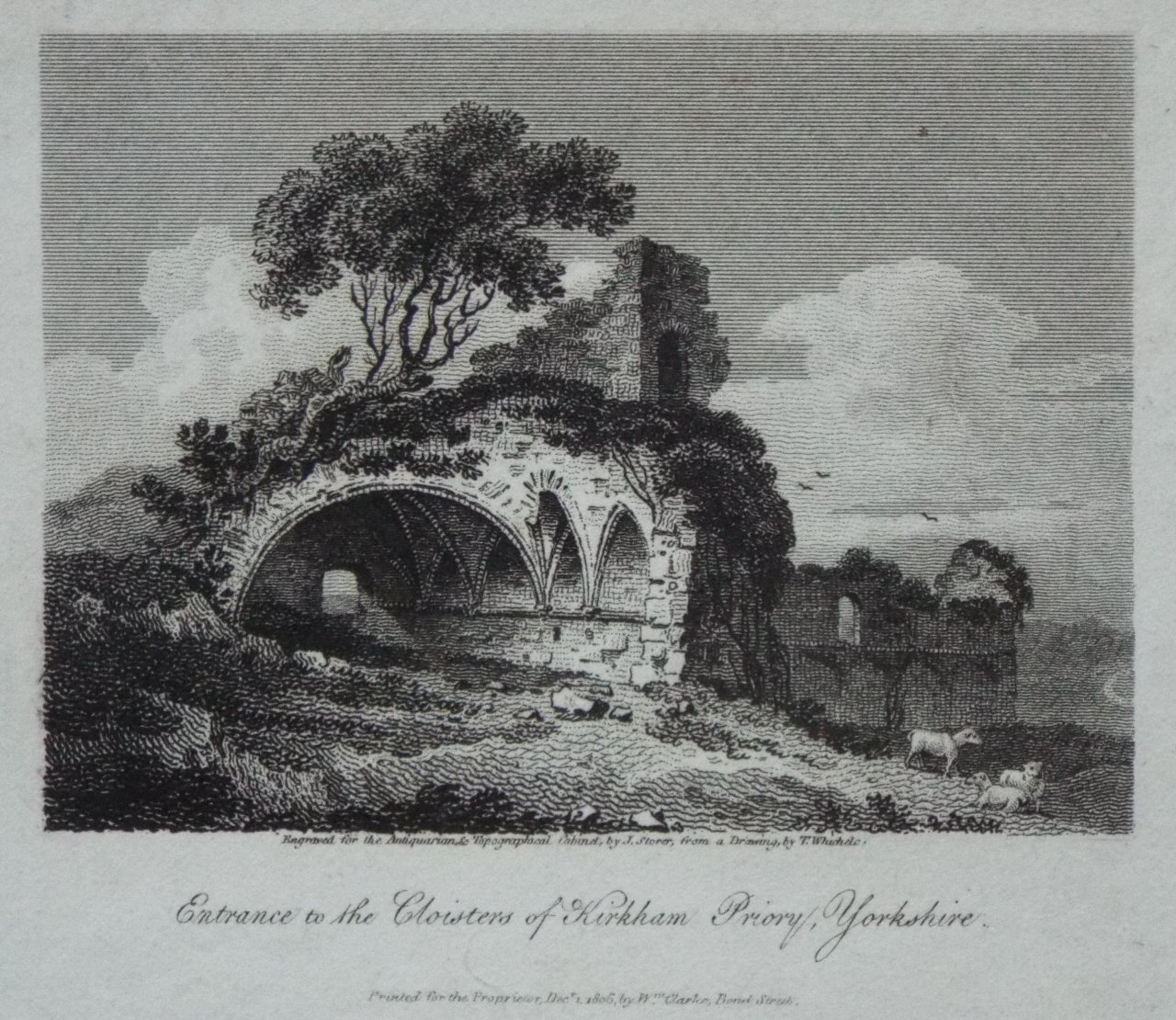Print - Entrance to the Cloisters of Kirkham Priory, Yorkshire. - Storer