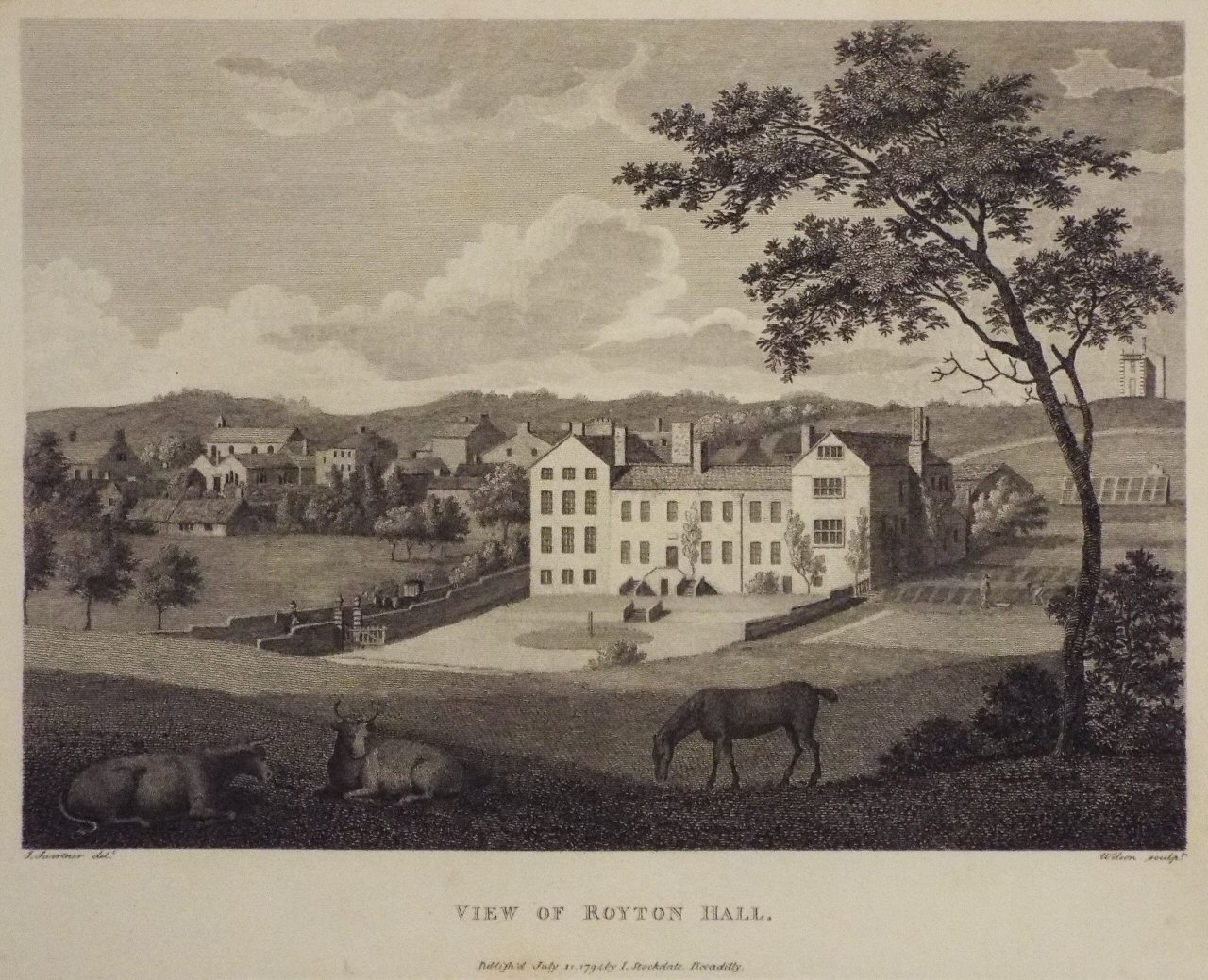 Print - View of Royton Hall. -