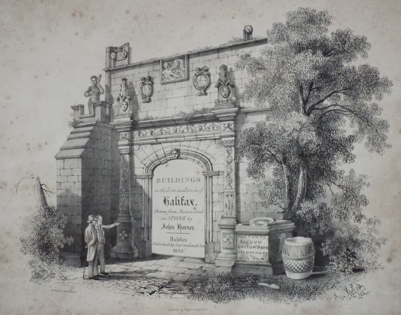 Lithograph - Gateway at High Sunderland (title page) - Horner