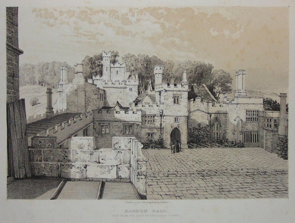 Lithograph - Haddon Hall View from the Roof of Entrance Tower -