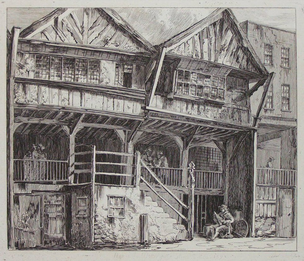 Etching - House in Watergate Street 1590 - Cuitt