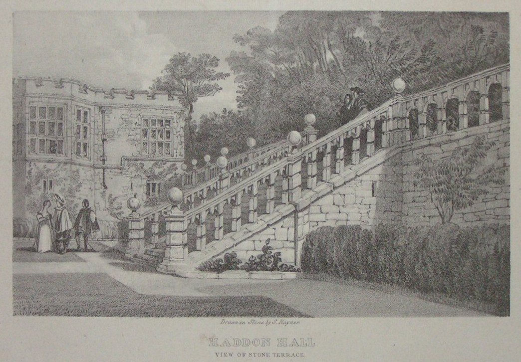 Lithograph - Haddon Hall View of Stone Terrace -