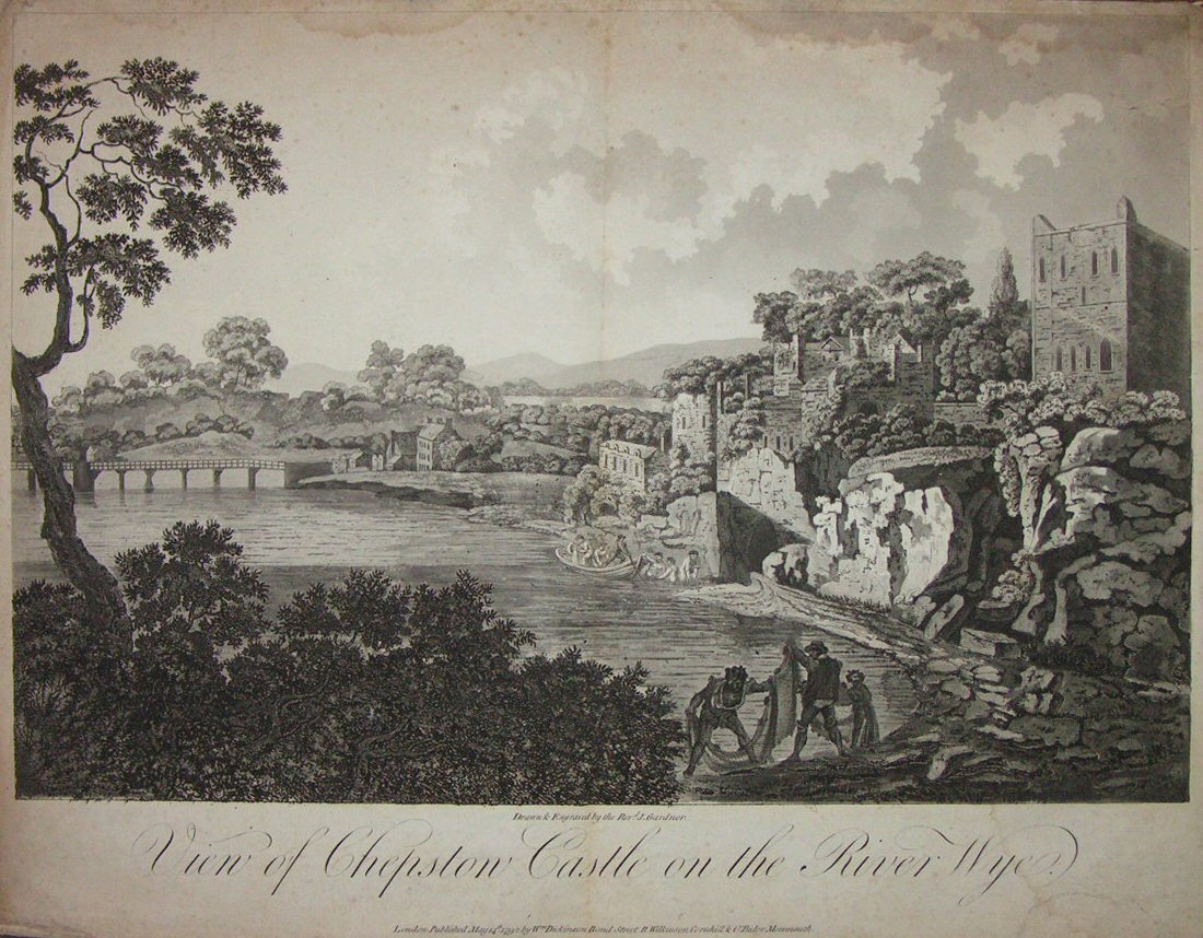 Aquatint - View of Chepstow Castle on the River Wye - Gardner