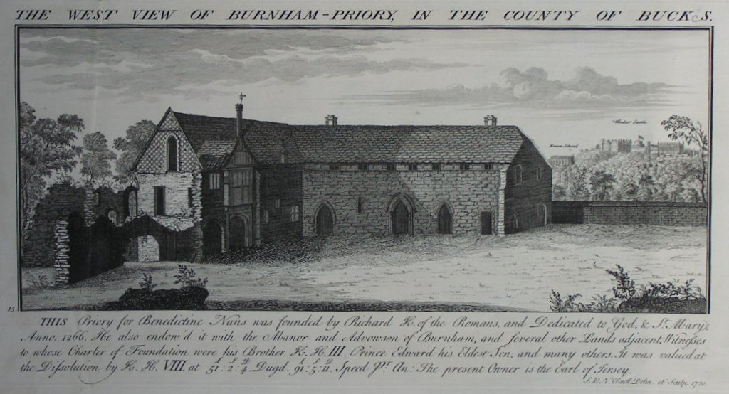 Print - The West View of Burnham-Priory in the County of Bucks - Buck