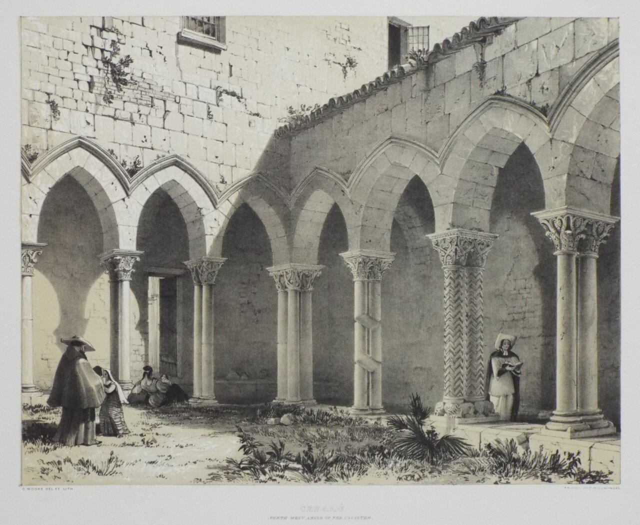 Lithograph - Cefalu. North West Angle of the Cloister. - Moore