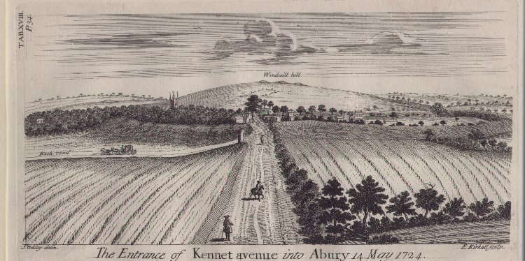 Print - The entrance of Kennet Avenue into Abury 14 May 1724 - Kirkall