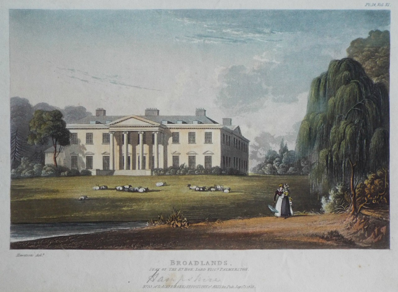 Aquatint - Broadlands, Seat of the Rt. Hon. Lord Visct. Palmerston.