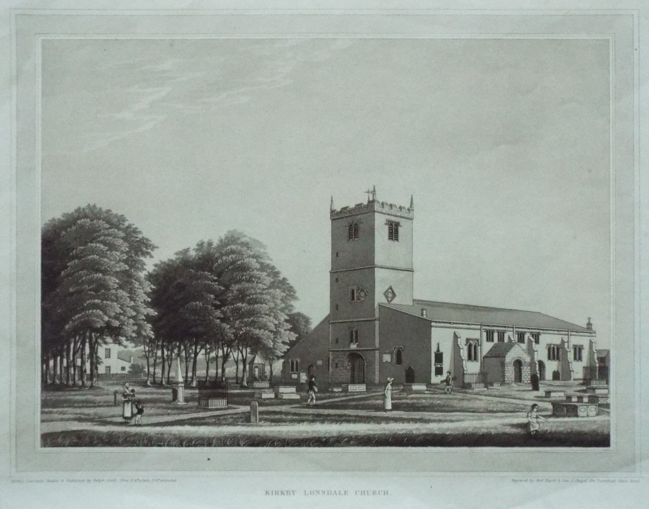 Aquatint - Kirkby Lonsdale Church. - Havell