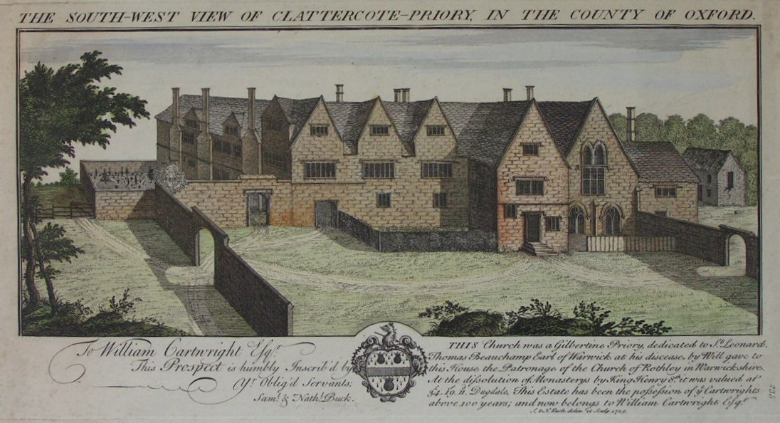 Print - The South West View of Clattercote-Priory in the County of Oxford - Buck