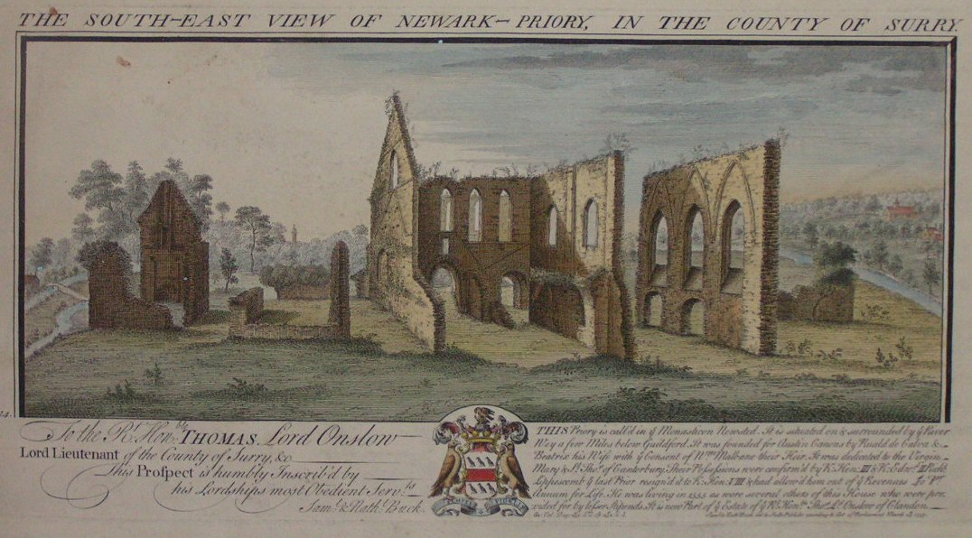 Print - The South-East view of Newark priory in the county of Surrey - Buck
